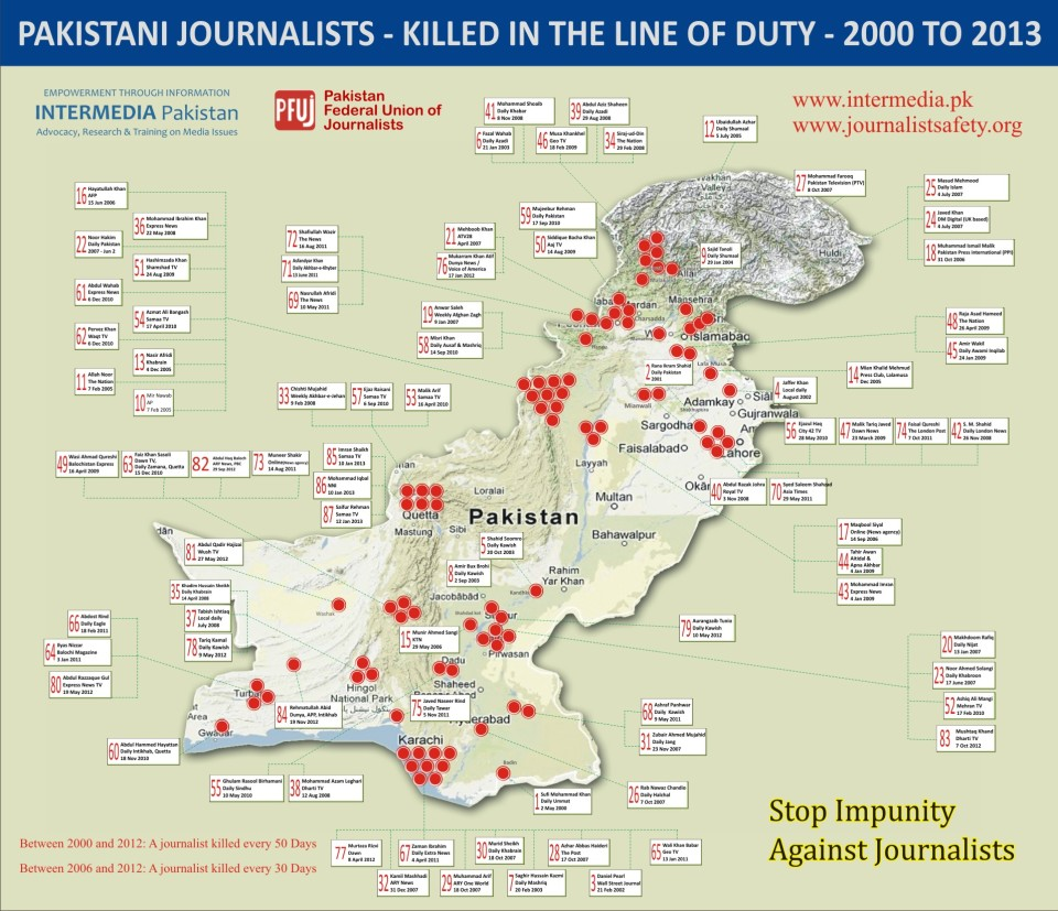 Map of Journalists Killed-Jan2013